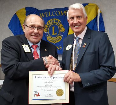 IPDG Alan Chapman receives the International Presidents Certificate of Appreciation