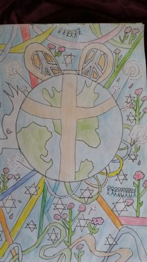 Poster with the world and a peace symbol