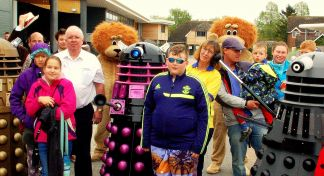 District Governor Mike meets the Daleks at Poultons Park