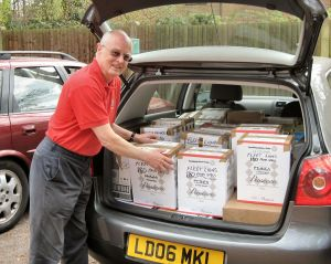SpecTrek collection being delivered by Lion Grahame Pullen of Fleet Lions Club