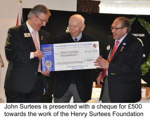 John Surtees cheque presentation