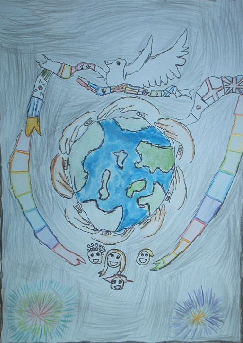 Winner Yr 3-4, world surrounded by hands with a dove at the top